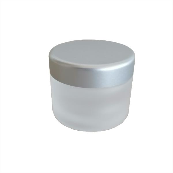 Cremedose Glas, mattiert/ satiniert mit Deckel silbermatt 30 ml