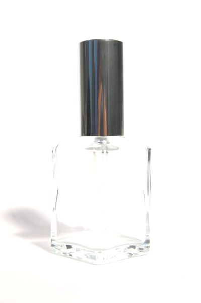 Glasflakon mit Zerstäuber (Kappe silber) 30 ml