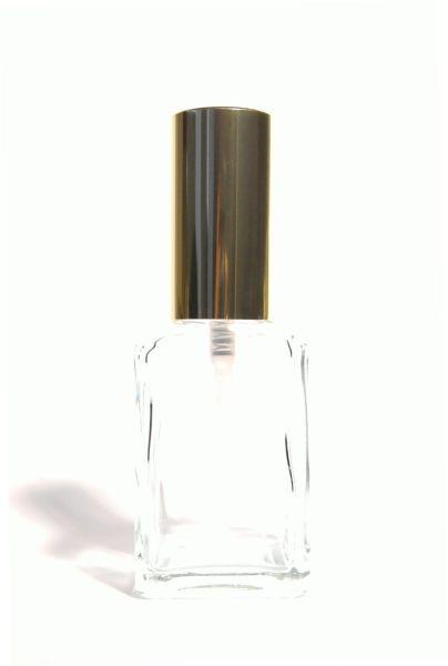 Glasflakon mit Zerstäuber (Kappe gold) 30 ml