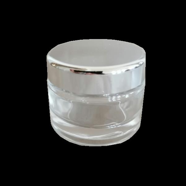 Cremedose Glas, klar mit Deckel silber 30 ml
